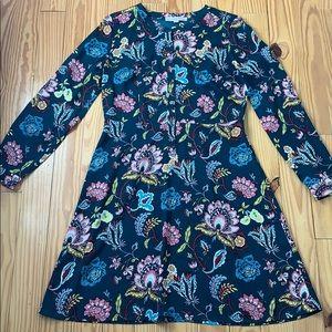 LOFT Teal a Floral Long Sleeve Dress